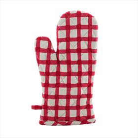 Watercolour Gingham Oven Glove - Red