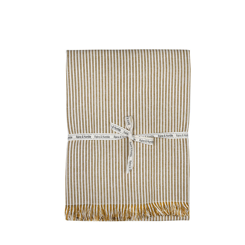 Abby Stripe Tablecloth Mustard