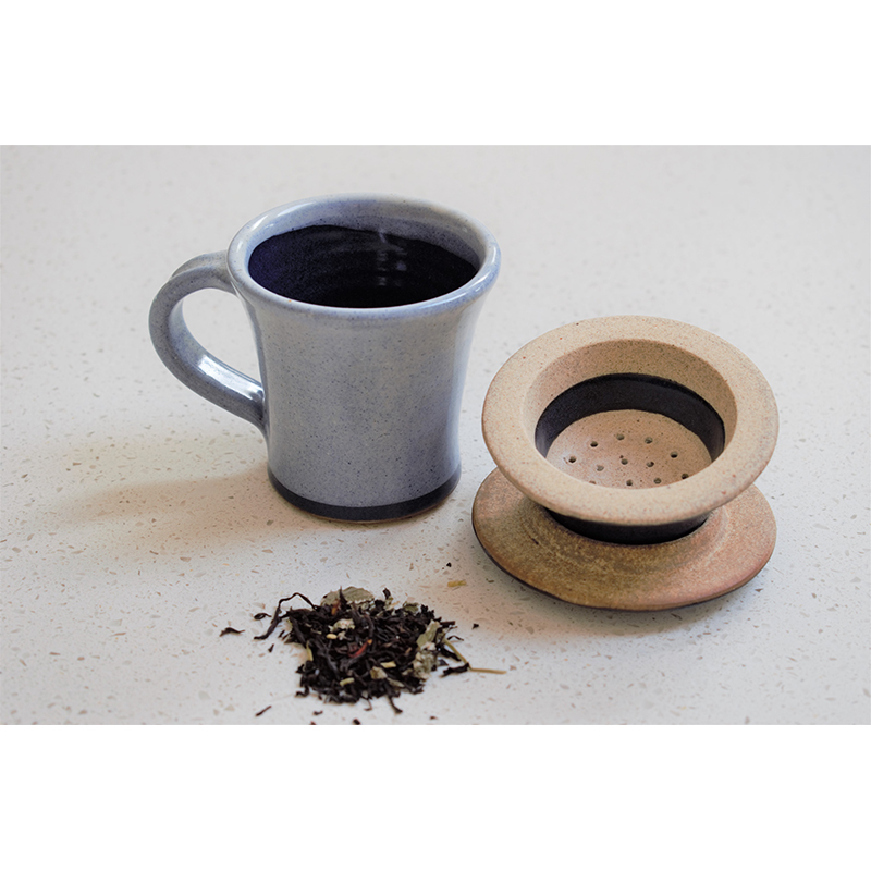 Chai Cup and Strainer set - Enamel Blue
