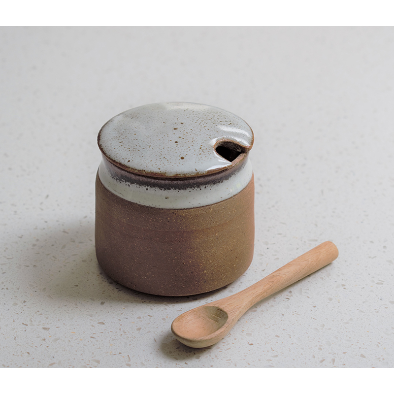 Stoneware Sugar Pot with Spoon - Tawny