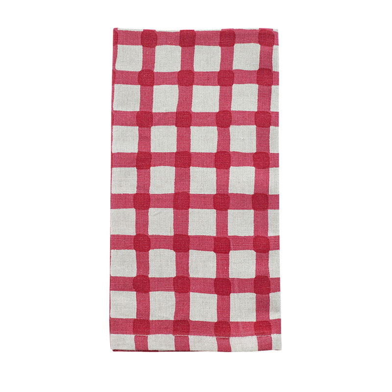 Watercolour Gingham Napkin - Red set of 4