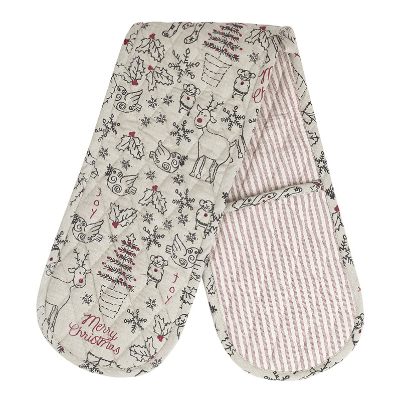 Christmas repeat print double oven glove